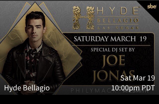 New Event: Joe DJing At Hyde Bellagio