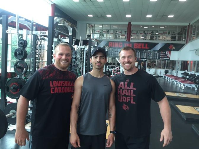 Joe Jonas at the Louisville Cardinals Gym