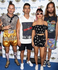 New funk-pop band DNCE arrives to host an explosive performance at Rehab Beach Club inside Hard Rock Hotel & Casino Featuring: Joe Jonas, DNCE Where: Las Vegas, Nevada, United States When: 25 Jul 2016 Credit: DJDM/WENN.com