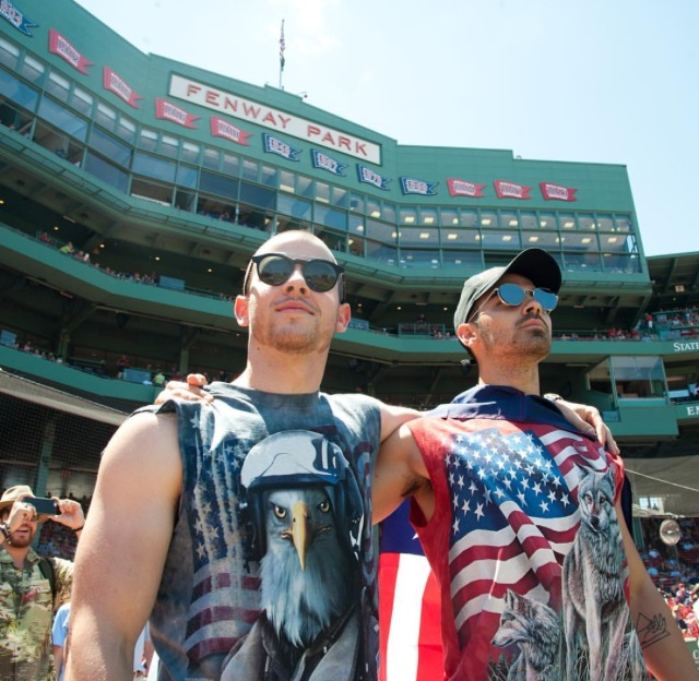 Joe and Nick Jonas at Fenway Park