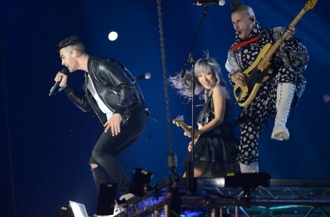 ROTTERDAM, NETHERLANDS - NOVEMBER 06: Joe Jonas, JinJoo Lee and Cole Whittle of DNCE performs on stage during the MTV Europe Music Awards 2016 on November 6, 2016 in Rotterdam, Netherlands. (Photo by Dave Hogan/MTV 2016/Getty Images for MTV)