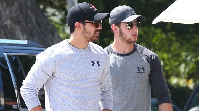 Joe and Nick Jonas out in Sherman Oaks