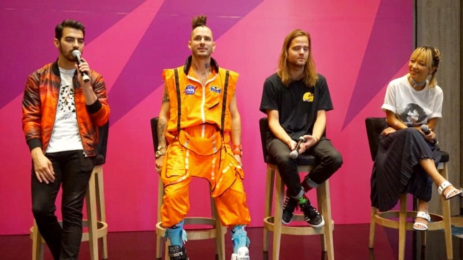 DNCE Attend 'Spotify on Stage' Press Conference
