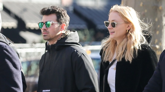 Joe Jonas Spotted out in New York with Sophie Turner and Nick and Kevin Jonas