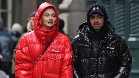 *EXCLUSIVE* Sophie Turner and Joe Jonas sport coordinating Moncler jackets to shop in Soho