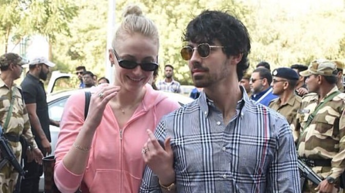 Joe Jonas and Sophie Turner at Jodpur Airport