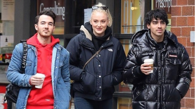 Joe Jonas, Sophie Turner and Kevin Jonas out in New York